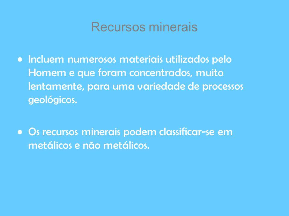 Recursos minerais Incluem numerosos materiais utilizados pelo Homem e que foram concentrados, muito lentamente, para uma variedade de processos geológ