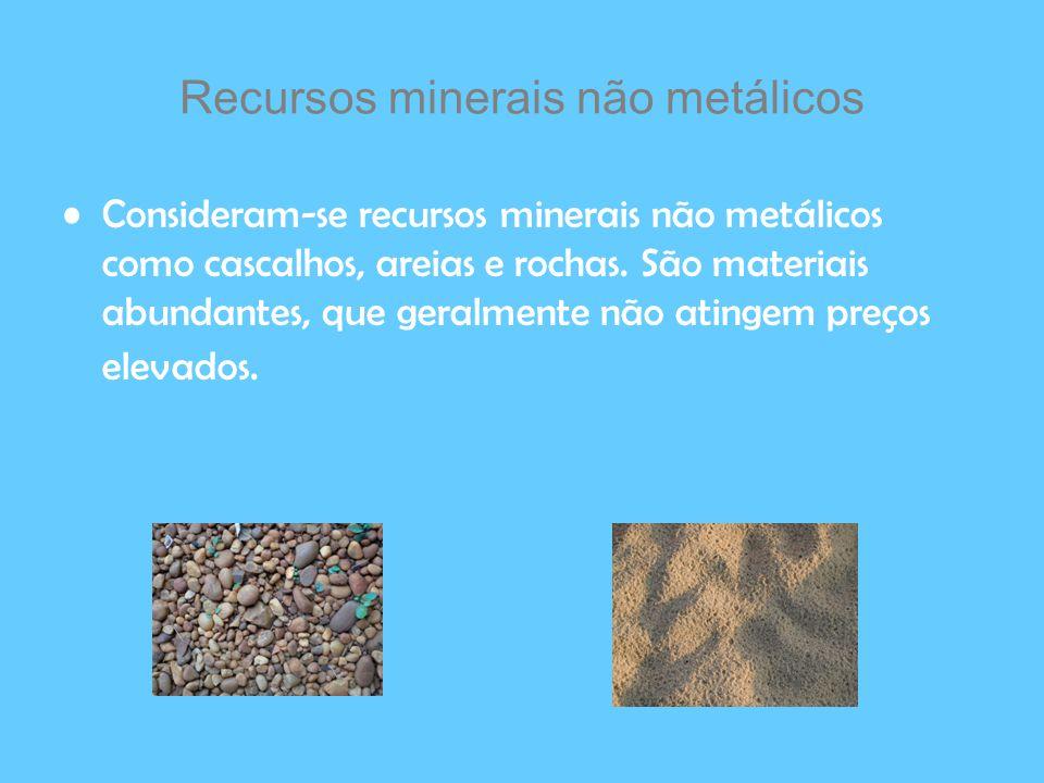 Recursos minerais não metálicos Consideram-se recursos minerais não metálicos como cascalhos, areias e rochas. São materiais abundantes, que geralment