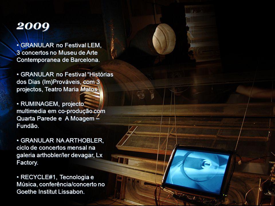 2009 GRANULAR no Festival LEM, 3 concertos no Museu de Arte Contemporanea de Barcelona.