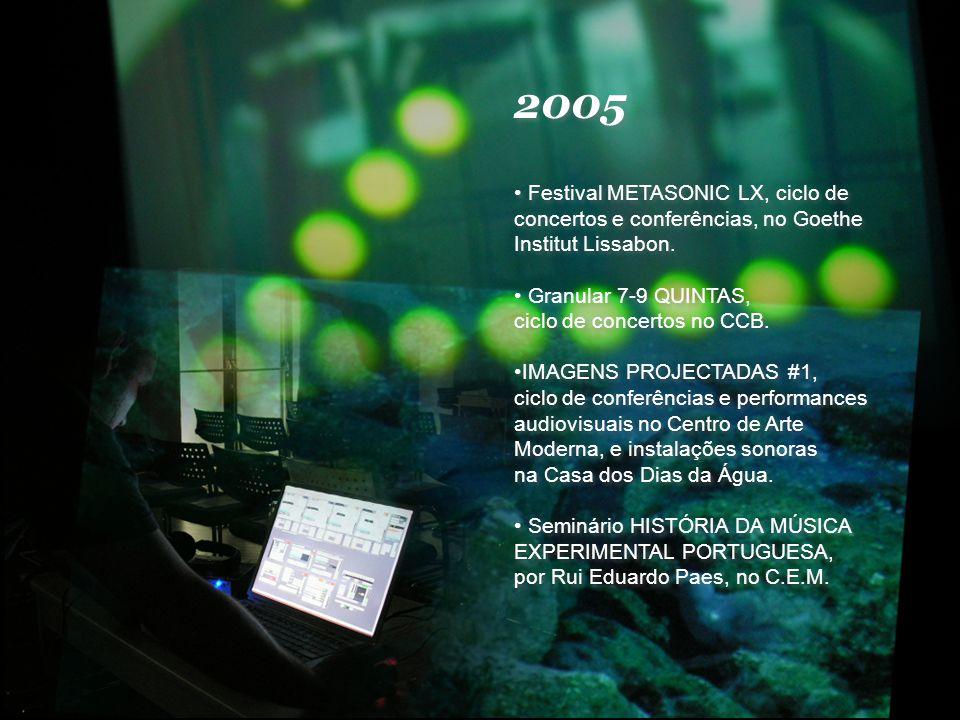 2005 Festival METASONIC LX, ciclo de concertos e conferências, no Goethe Institut Lissabon.