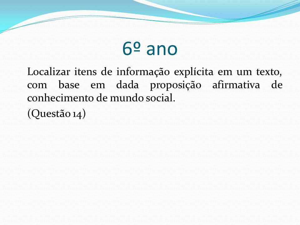 6º ano Localizar itens de informação explícita em um texto, com base em dada proposição afirmativa de conhecimento de mundo social.