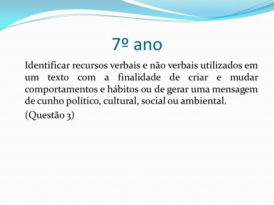 7º ano Identificar recursos verbais e não verbais utilizados em um texto com a finalidade de criar e mudar comportamentos e hábitos ou de gerar uma mensagem de cunho político, cultural, social ou ambiental.