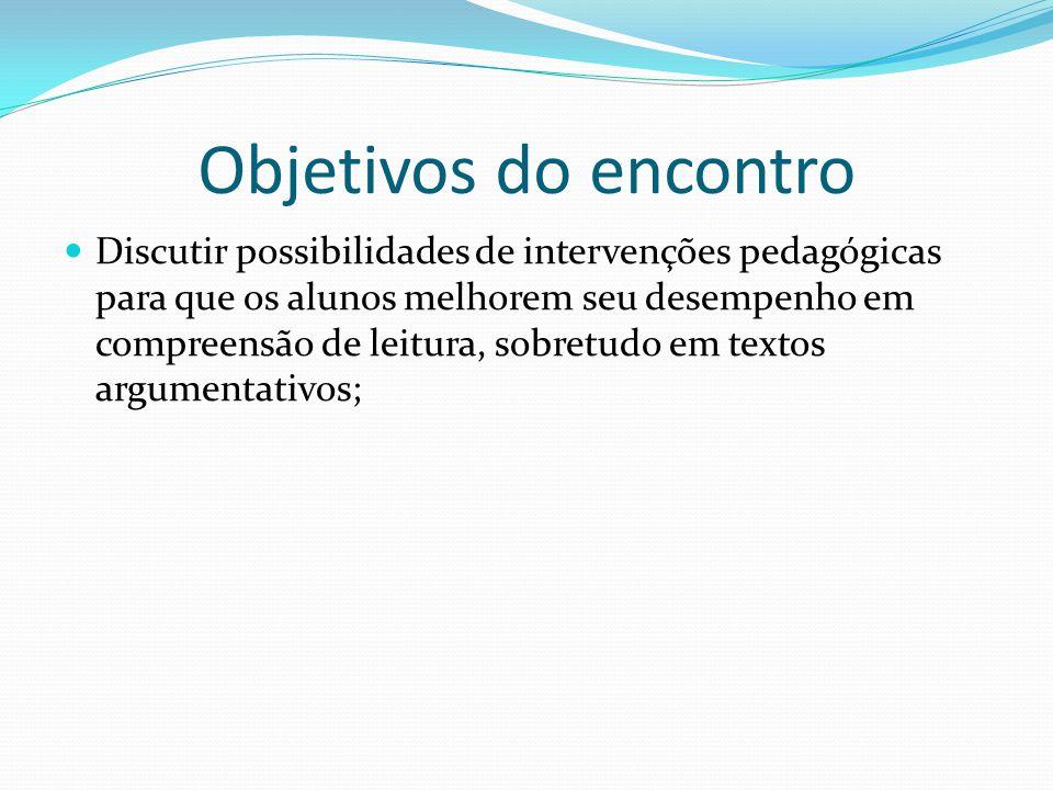 Objetivos do encontro Discutir possibilidades de intervenções pedagógicas para que os alunos melhorem seu desempenho em compreensão de leitura, sobretudo em textos argumentativos;