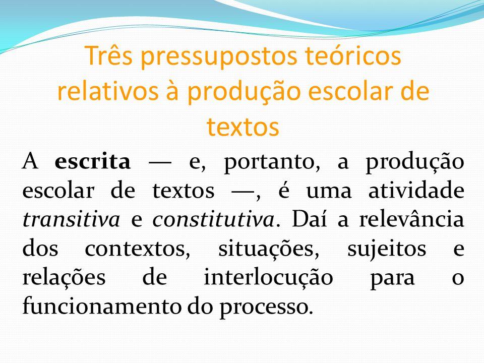 Três pressupostos teóricos relativos à produção escolar de textos A escrita e, portanto, a produção escolar de textos, é uma atividade transitiva e constitutiva.
