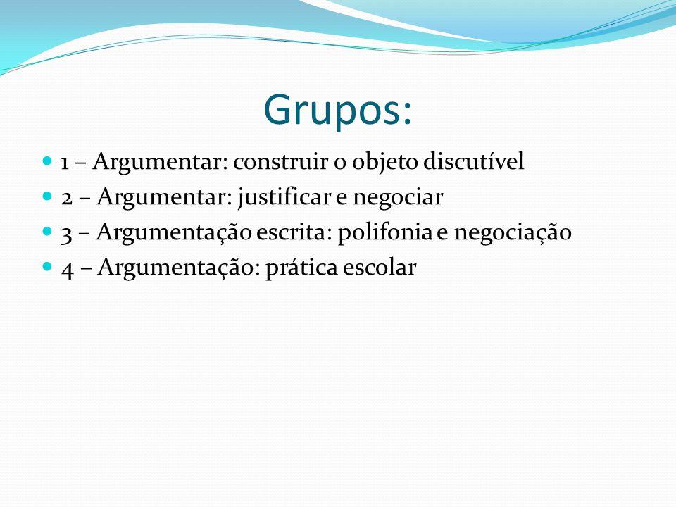 Grupos: 1 – Argumentar: construir o objeto discutível 2 – Argumentar: justificar e negociar 3 – Argumentação escrita: polifonia e negociação 4 – Argumentação: prática escolar