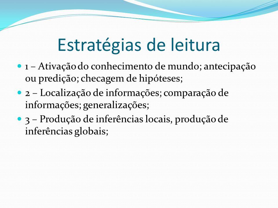 Estratégias de leitura 1 – Ativação do conhecimento de mundo; antecipação ou predição; checagem de hipóteses; 2 – Localização de informações; comparação de informações; generalizações; 3 – Produção de inferências locais, produção de inferências globais;