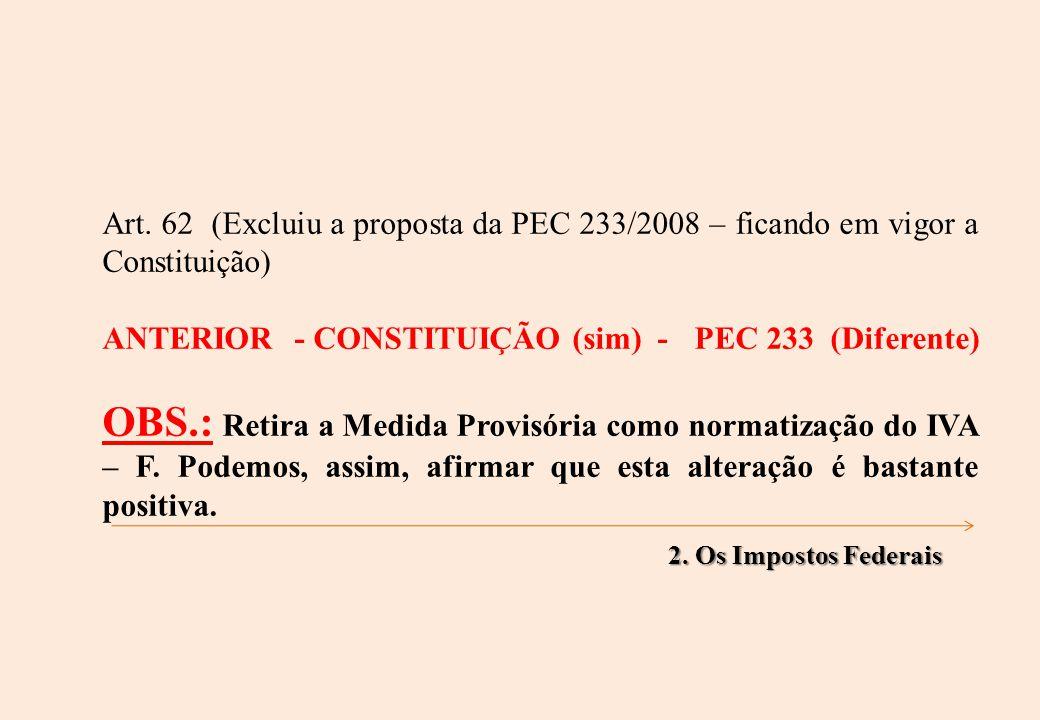Art. 62 (Excluiu a proposta da PEC 233/2008 – ficando em vigor a Constituição) ANTERIOR - CONSTITUIÇÃO (sim) - PEC 233 (Diferente) OBS.: Retira a Medi