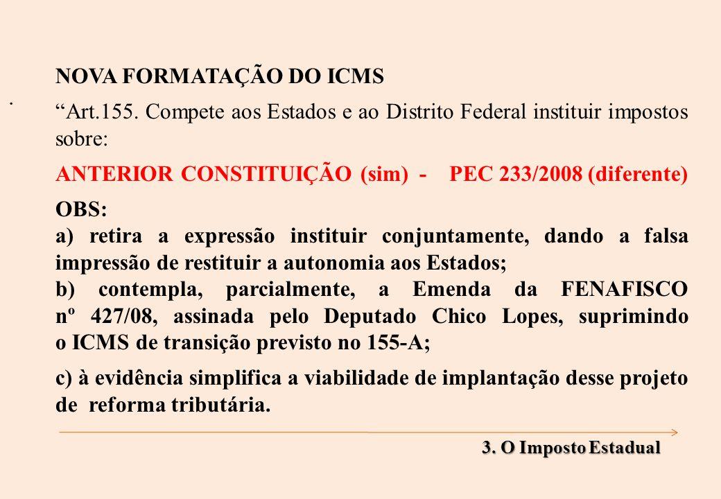 NOVA FORMATAÇÃO DO ICMS Art.155.