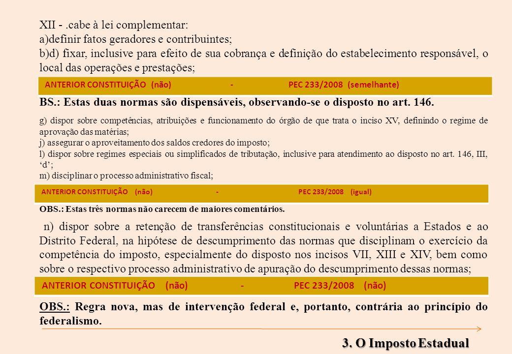 XII -.cabe à lei complementar: a)definir fatos geradores e contribuintes; b)d) fixar, inclusive para efeito de sua cobrança e definição do estabelecimento responsável, o local das operações e prestações; BS.: Estas duas normas são dispensáveis, observando-se o disposto no art.