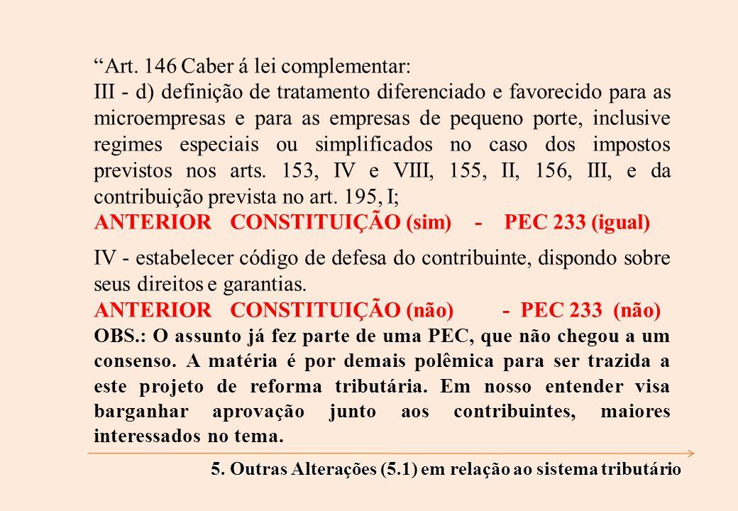 Art. 146 Caber á lei complementar: III - d) definição de tratamento diferenciado e favorecido para as microempresas e para as empresas de pequeno port
