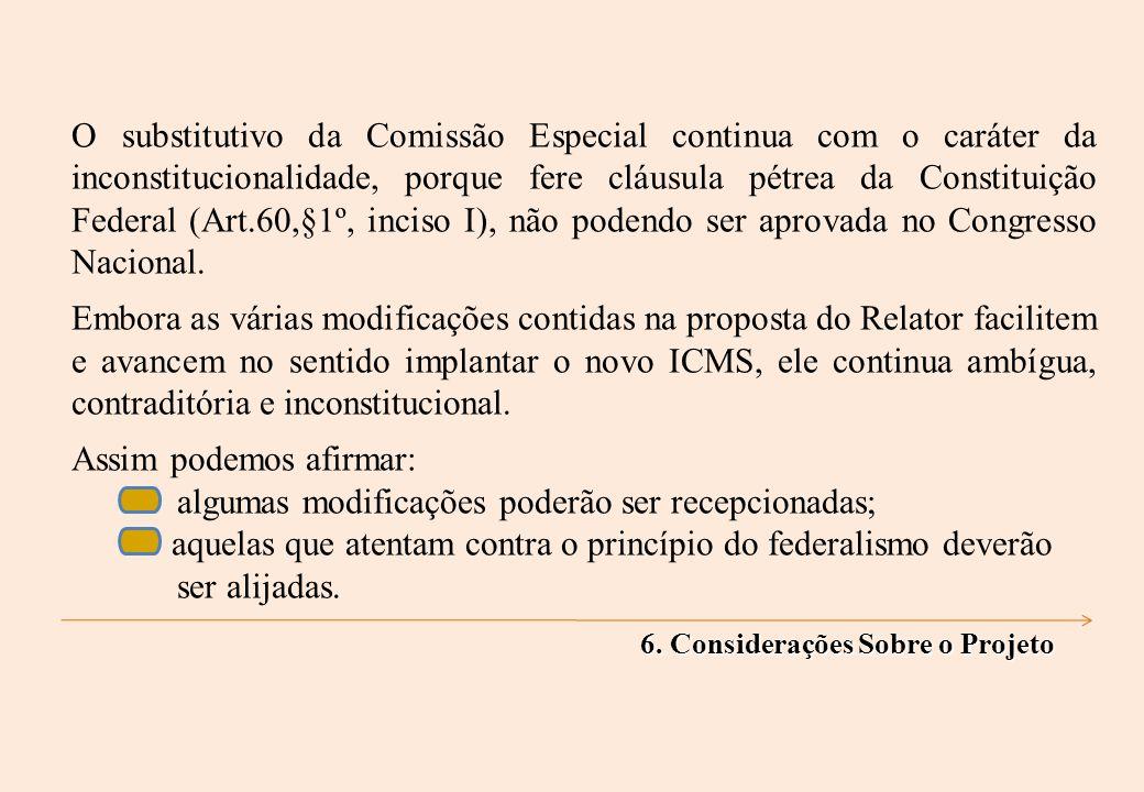O substitutivo da Comissão Especial continua com o caráter da inconstitucionalidade, porque fere cláusula pétrea da Constituição Federal (Art.60,§1º, inciso I), não podendo ser aprovada no Congresso Nacional.