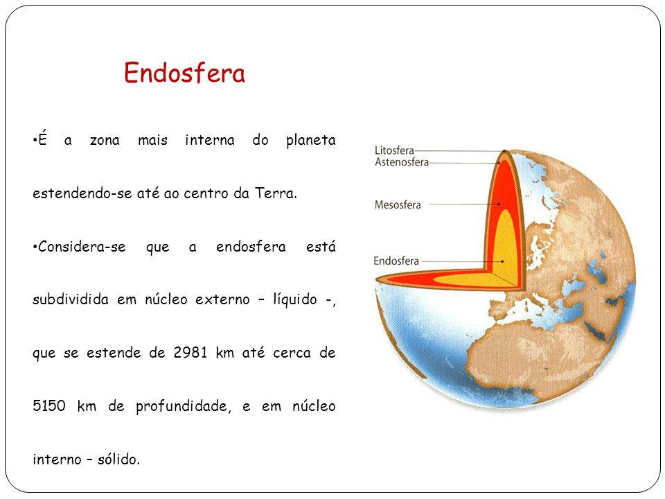 Endosfera É a zona mais interna do planeta estendendo-se até ao centro da Terra. Considera-se que a endosfera está subdividida em núcleo externo – líq