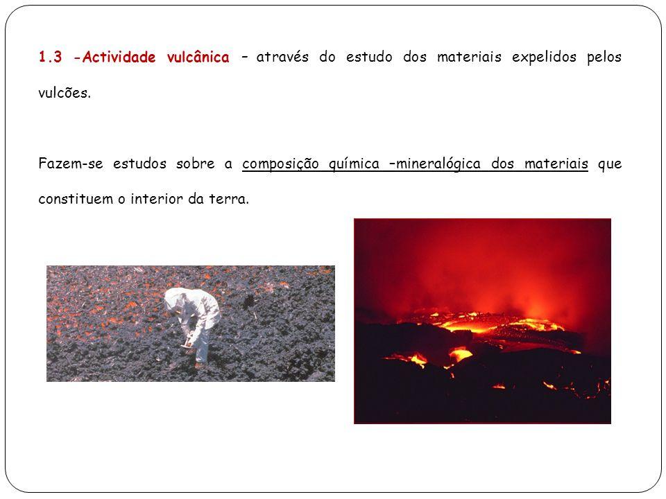 1.3 -Actividade vulcânica – através do estudo dos materiais expelidos pelos vulcões. Fazem-se estudos sobre a composição química –mineralógica dos mat