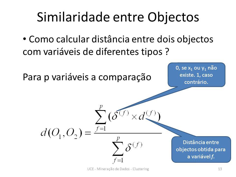 Similaridade entre Objectos UCE - Mineração de Dados - Clustering13 Como calcular distância entre dois objectos com variáveis de diferentes tipos .