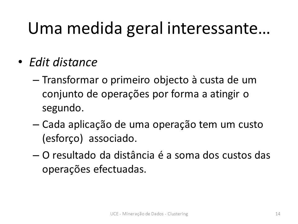 Uma medida geral interessante… Edit distance – Transformar o primeiro objecto à custa de um conjunto de operações por forma a atingir o segundo.