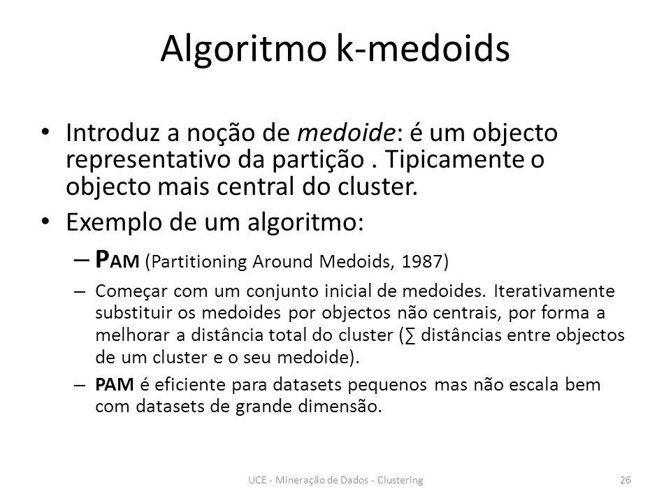 Algoritmo k-medoids Introduz a noção de medoide: é um objecto representativo da partição.