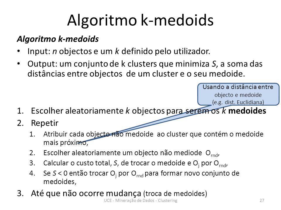 Usando a distância entre objecto e medoide (e.g. dist.