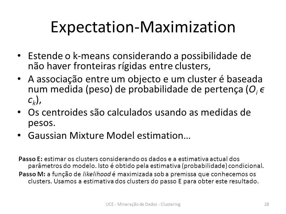 Expectation-Maximization Estende o k-means considerando a possibilidade de não haver fronteiras rígidas entre clusters, A associação entre um objecto e um cluster é baseada num medida (peso) de probabilidade de pertença (O i ϵ c k ), Os centroides são calculados usando as medidas de pesos.