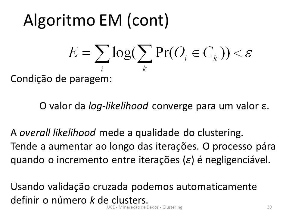 30 Algoritmo EM (cont) Condição de paragem: O valor da log-likelihood converge para um valor ε.