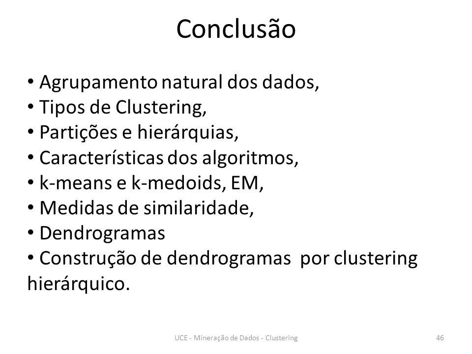 Conclusão UCE - Mineração de Dados - Clustering46 Agrupamento natural dos dados, Tipos de Clustering, Partições e hierárquias, Características dos algoritmos, k-means e k-medoids, EM, Medidas de similaridade, Dendrogramas Construção de dendrogramas por clustering hierárquico.