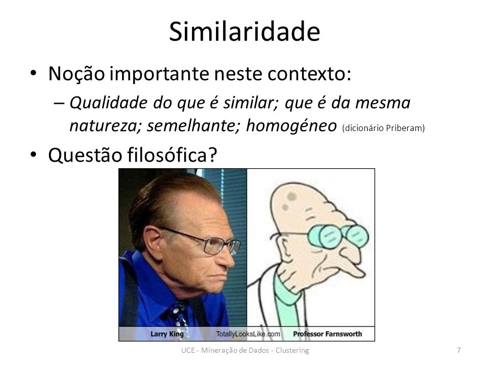 Similaridade Noção importante neste contexto: – Qualidade do que é similar; que é da mesma natureza; semelhante; homogéneo (dicionário Priberam) Questão filosófica.