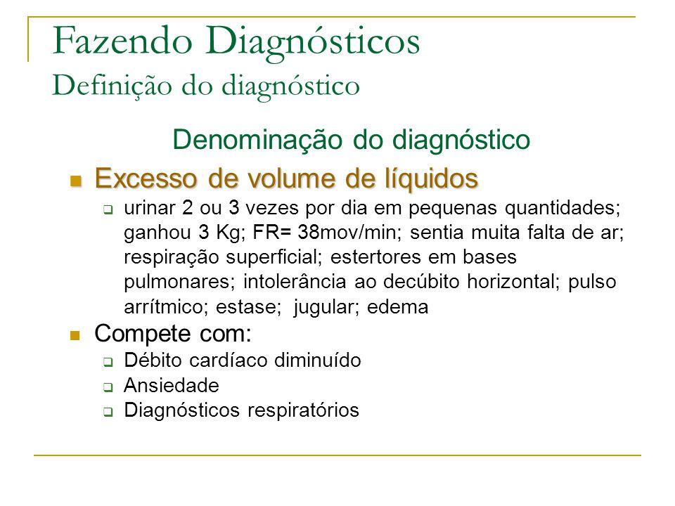 Fazendo Diagnósticos Definição do diagnóstico Denominação do diagnóstico Excesso de volume de líquidos Excesso de volume de líquidos urinar 2 ou 3 vezes por dia em pequenas quantidades; ganhou 3 Kg; FR= 38mov/min; sentia muita falta de ar; respiração superficial; estertores em bases pulmonares; intolerância ao decúbito horizontal; pulso arrítmico; estase; jugular; edema Compete com: Débito cardíaco diminuído Ansiedade Diagnósticos respiratórios