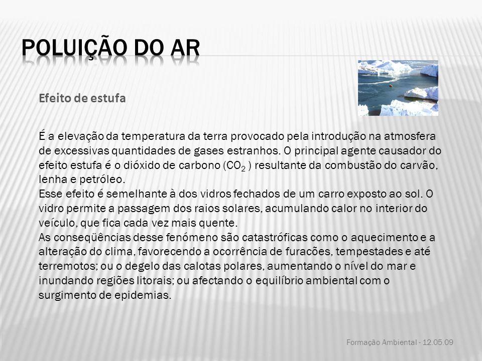 Formação Ambiental - 12.05.09 Efeito de estufa É a elevação da temperatura da terra provocado pela introdução na atmosfera de excessivas quantidades d