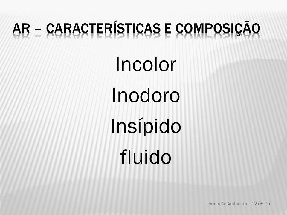 Incolor Inodoro Insípido fluido Formação Ambiental - 12.05.09