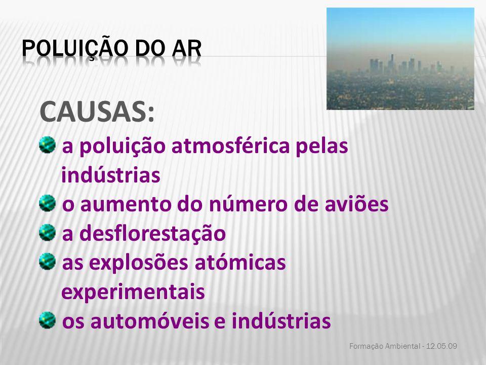 Formação Ambiental - 12.05.09 CAUSAS: a poluição atmosférica pelas indústrias o aumento do número de aviões a desflorestação as explosões atómicas exp
