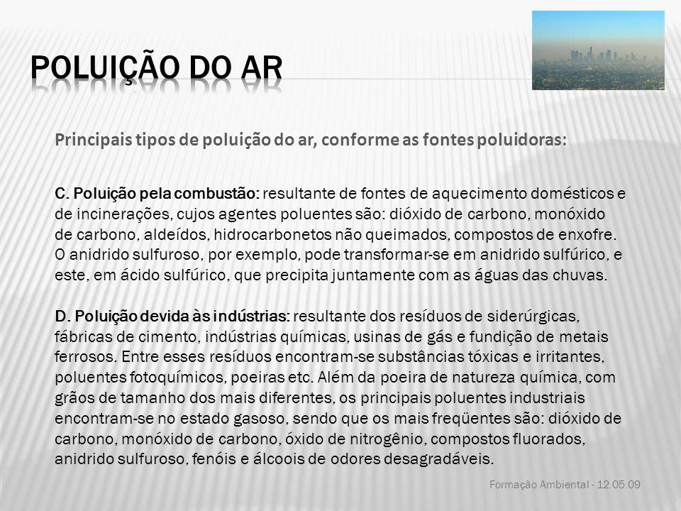 Formação Ambiental - 12.05.09 Principais tipos de poluição do ar, conforme as fontes poluidoras: C. Poluição pela combustão: resultante de fontes de a