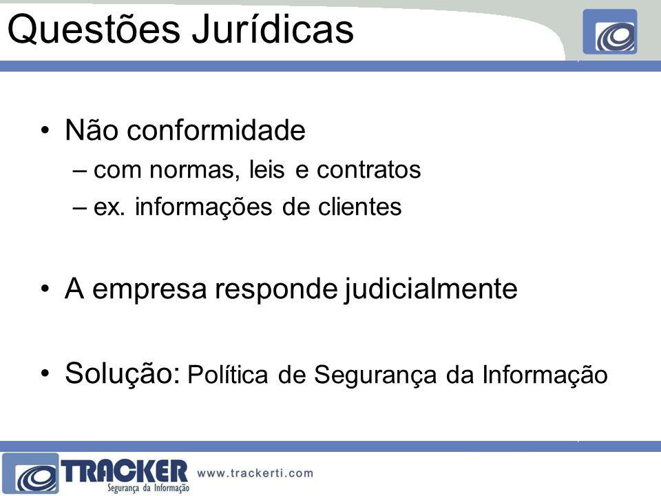 Questões Jurídicas Não conformidade –com normas, leis e contratos –ex. informações de clientes A empresa responde judicialmente Solução: Política de S