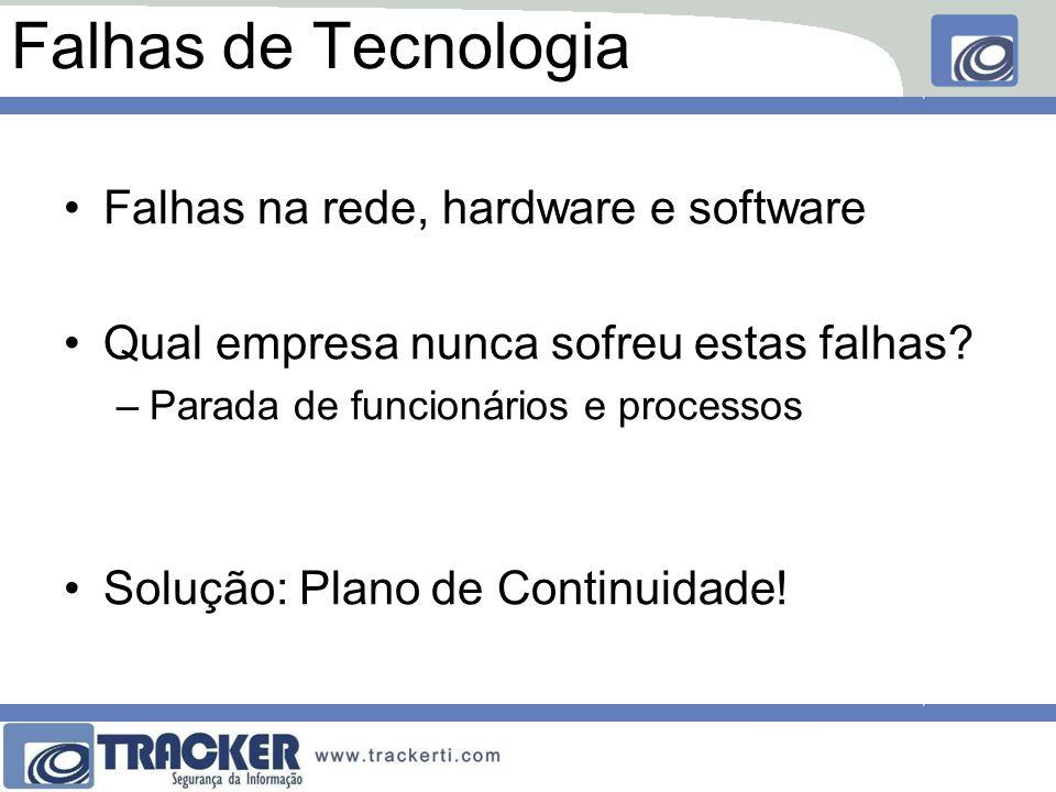 Falhas de Tecnologia Falhas na rede, hardware e software Qual empresa nunca sofreu estas falhas? –Parada de funcionários e processos Solução: Plano de