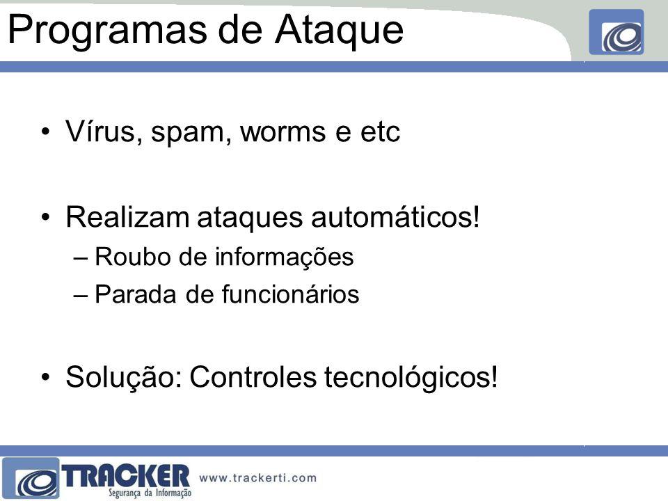 Programas de Ataque Vírus, spam, worms e etc Realizam ataques automáticos! –Roubo de informações –Parada de funcionários Solução: Controles tecnológic