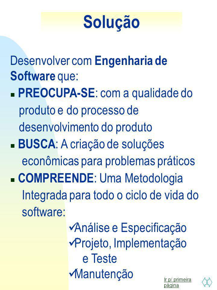 Ir p/ primeira página CONSEQUÊNCIAS Software não atende as necessidades do usuário; Desentendimentos entre usuários e desenvolvedor; Perda de tempo e