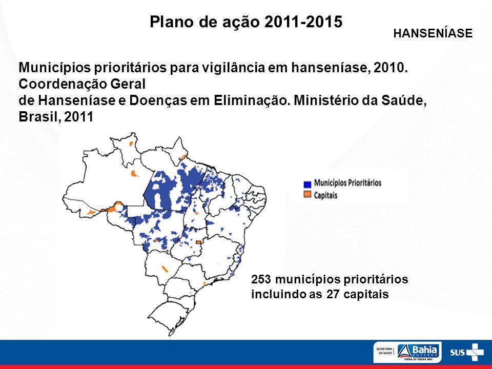 HANSENÍASE 253 municípios prioritários incluindo as 27 capitais Municípios prioritários para vigilância em hanseníase, 2010. Coordenação Geral de Hans