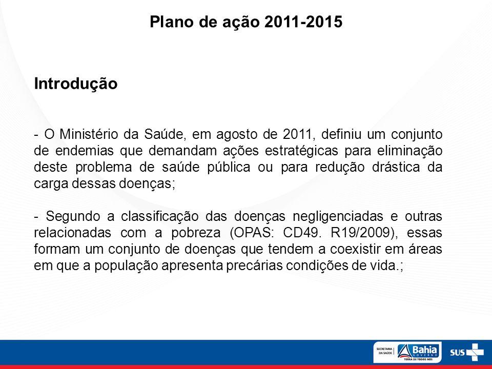 Plano de ação 2011-2015 - Brasil Valores disponibilizados pela SVS para os 840 municípios prioritários dos agravos que constam do plano de eliminação nas ações de fortalecimento de vigilância.
