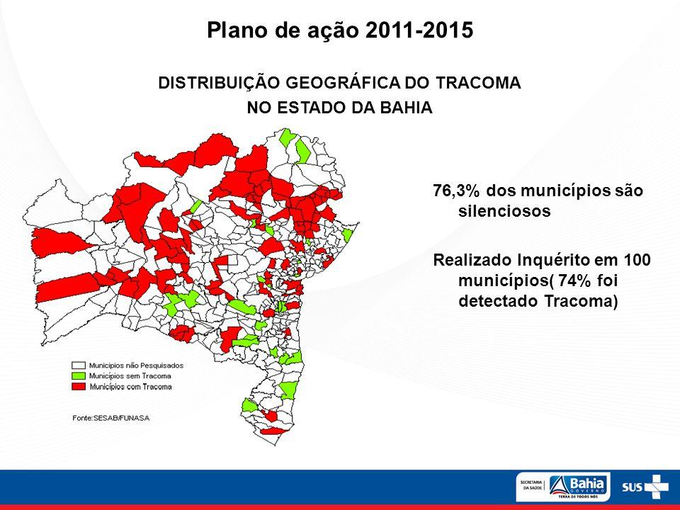 Plano de ação 2011-2015 DISTRIBUIÇÃO GEOGRÁFICA DO TRACOMA NO ESTADO DA BAHIA 76,3% dos municípios são silenciosos Realizado Inquérito em 100 municípios( 74% foi detectado Tracoma)