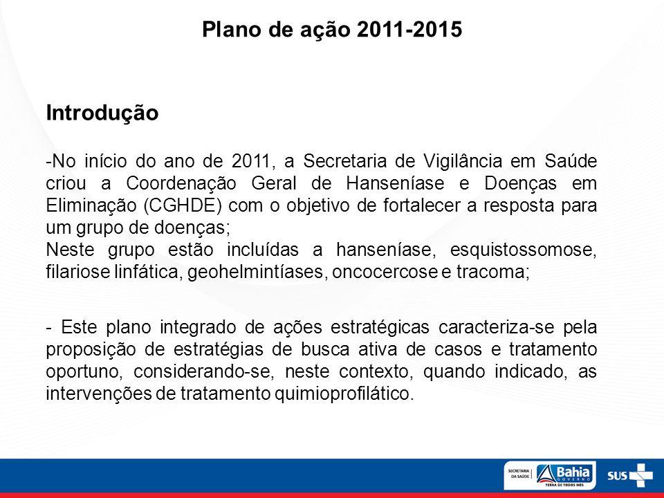 Introdução -No início do ano de 2011, a Secretaria de Vigilância em Saúde criou a Coordenação Geral de Hanseníase e Doenças em Eliminação (CGHDE) com