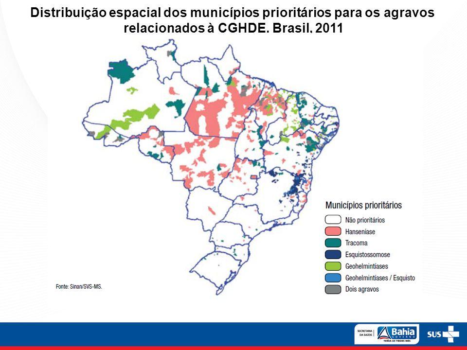 Distribuição espacial dos municípios prioritários para os agravos relacionados à CGHDE.