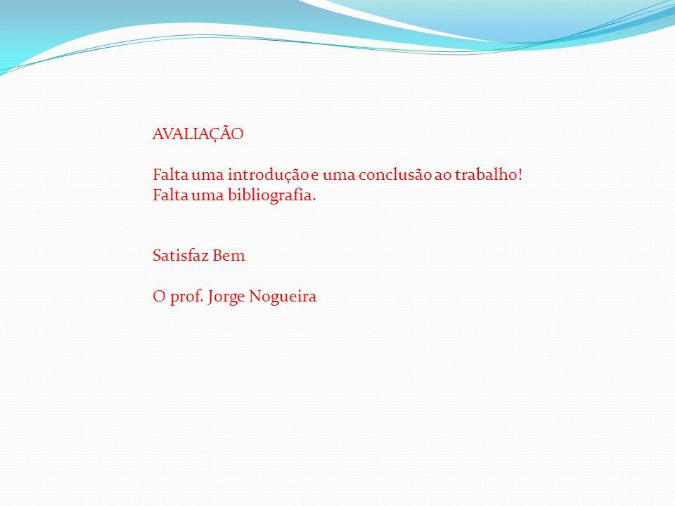 AVALIAÇÃO Falta uma introdução e uma conclusão ao trabalho! Falta uma bibliografia. Satisfaz Bem O prof. Jorge Nogueira