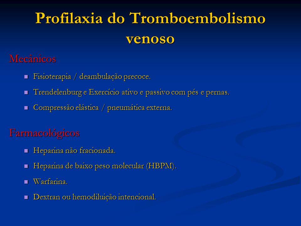 Profilaxia do Tromboembolismo venoso Mecânicos Fisioterapia / deambulação precoce.