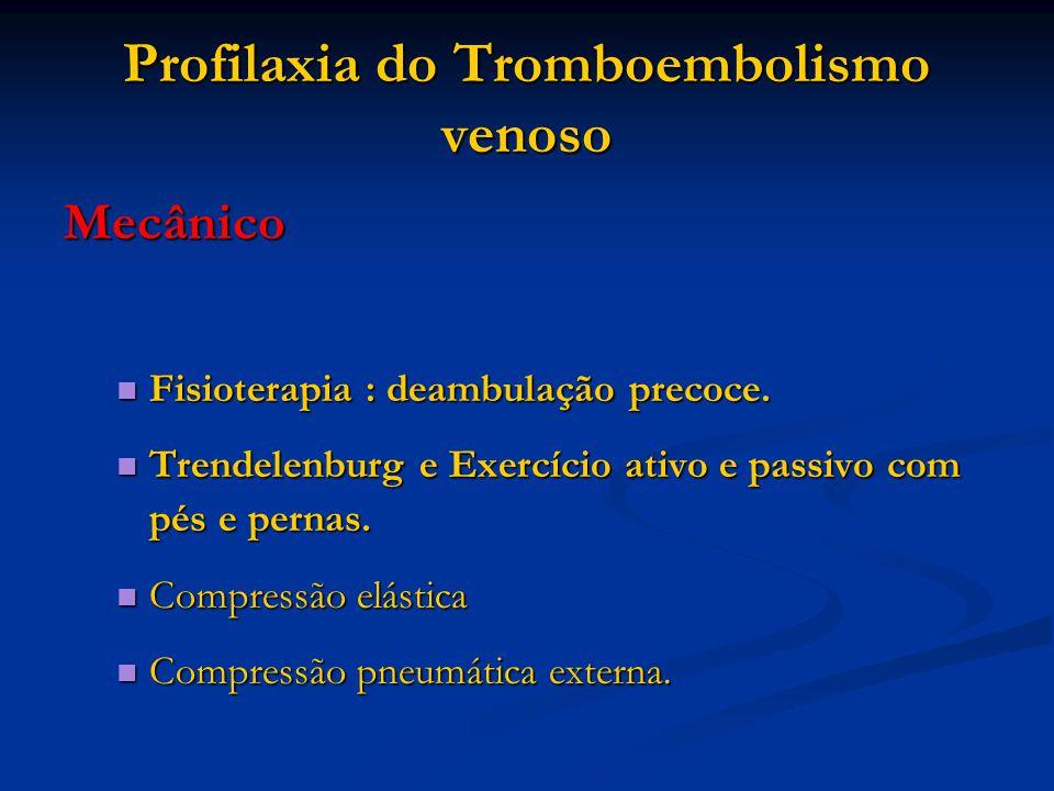 Profilaxia do Tromboembolismo venoso Mecânico Fisioterapia : deambulação precoce. Fisioterapia : deambulação precoce. Trendelenburg e Exercício ativo