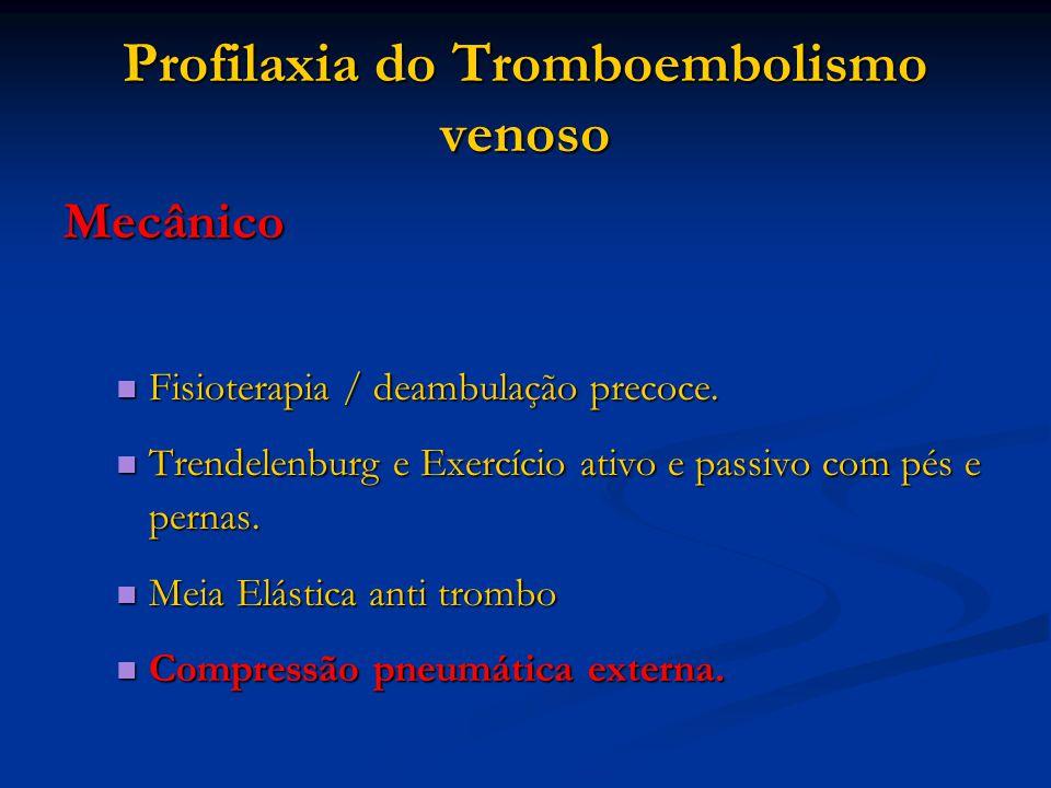 Profilaxia do Tromboembolismo venoso Mecânico Fisioterapia / deambulação precoce. Fisioterapia / deambulação precoce. Trendelenburg e Exercício ativo