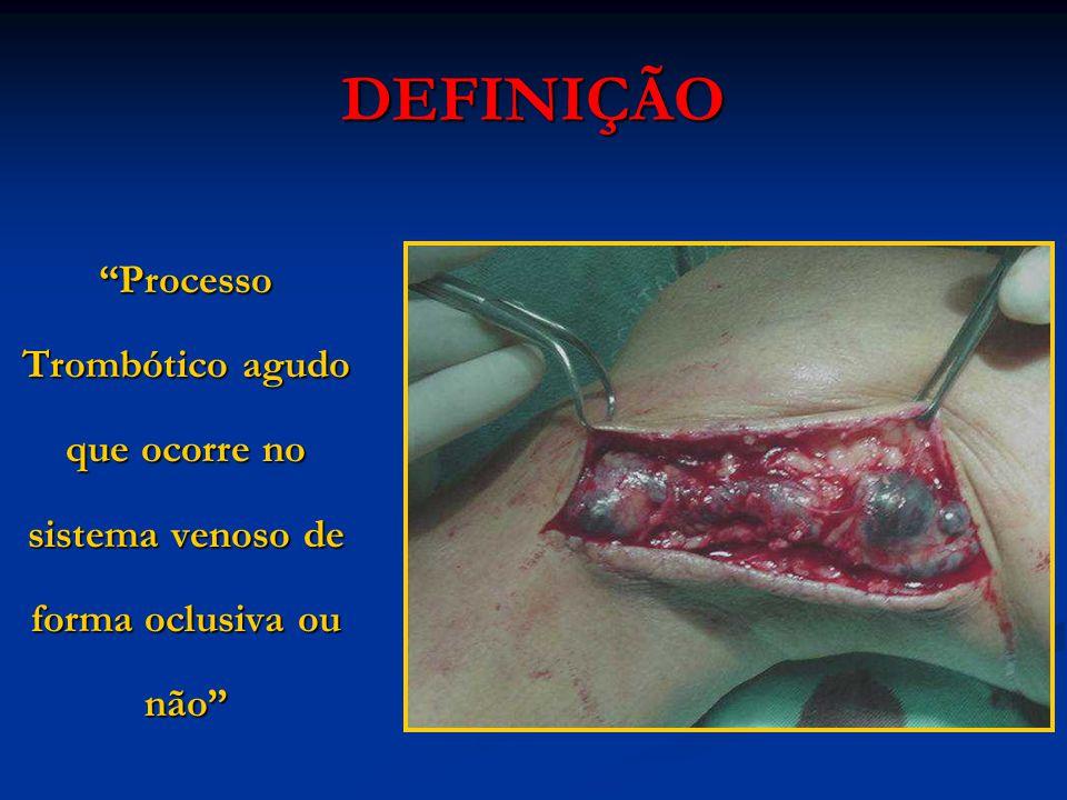 Processo Trombótico agudo que ocorre no sistema venoso de forma oclusiva ou não DEFINIÇÃO