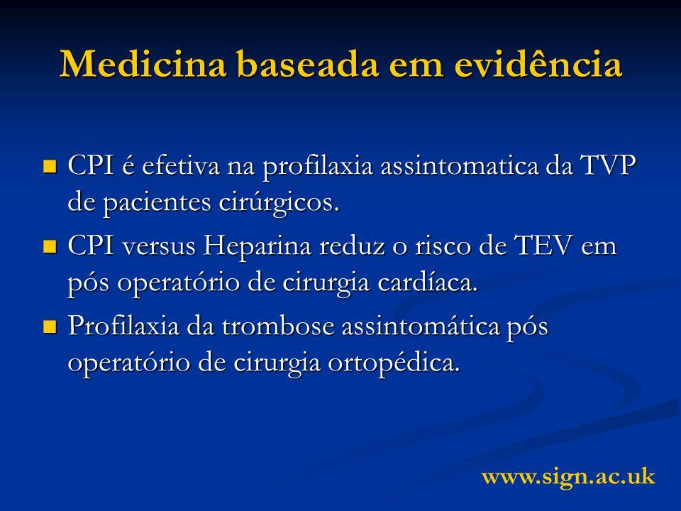 Medicina baseada em evidência CPI é efetiva na profilaxia assintomatica da TVP de pacientes cirúrgicos.