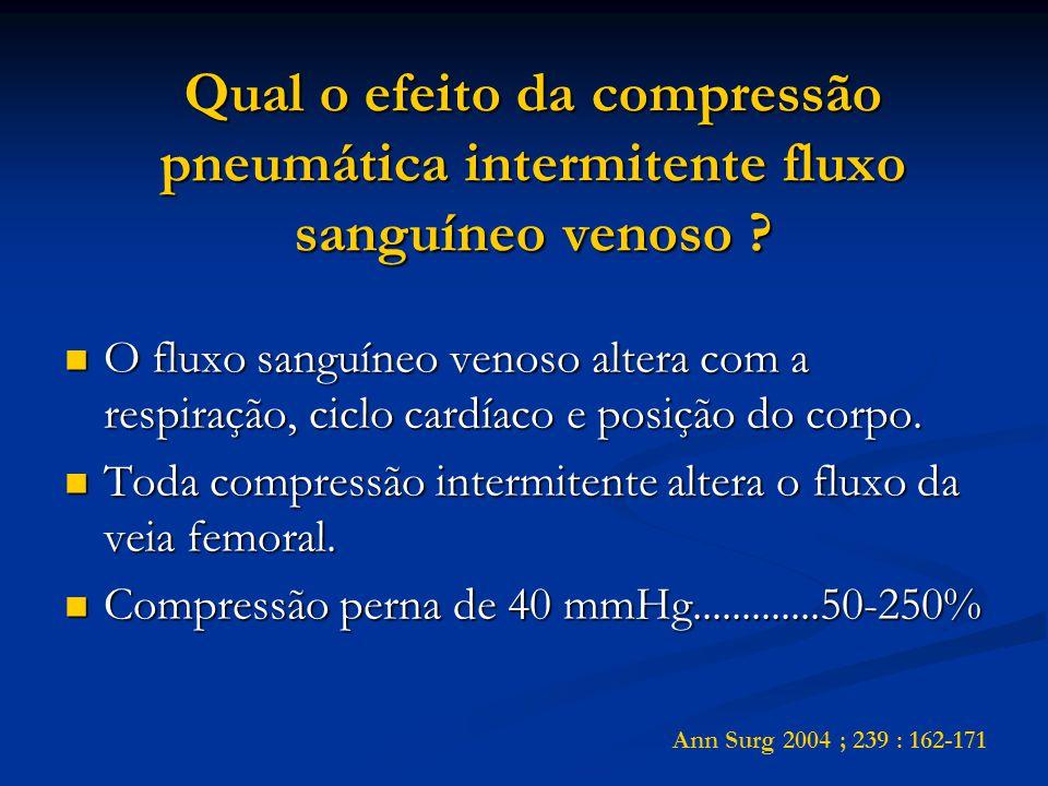 Qual o efeito da compressão pneumática intermitente fluxo sanguíneo venoso ? O fluxo sanguíneo venoso altera com a respiração, ciclo cardíaco e posiçã