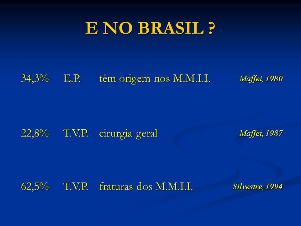 E NO BRASIL ? 34,3%E.P. têm origem nos M.M.I.I. Maffei, 1980 22,8%T.V.P. cirurgia geral Maffei, 1987 62,5%T.V.P. fraturas dos M.M.I.I. Silvestre, 1994