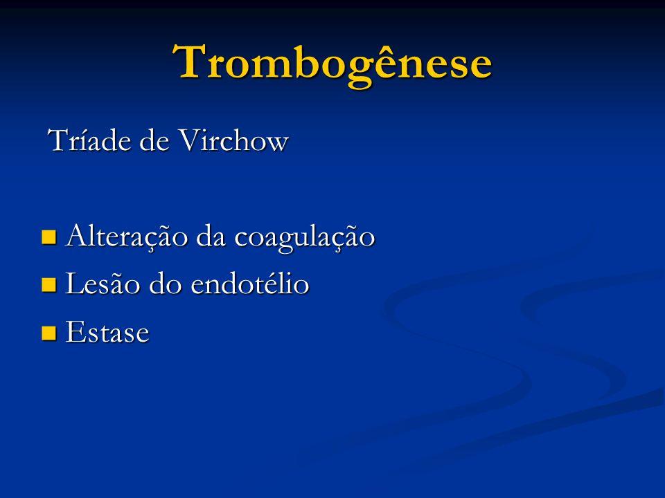 Trombogênese Tríade de Virchow Tríade de Virchow Alteração da coagulação Alteração da coagulação Lesão do endotélio Lesão do endotélio Estase Estase