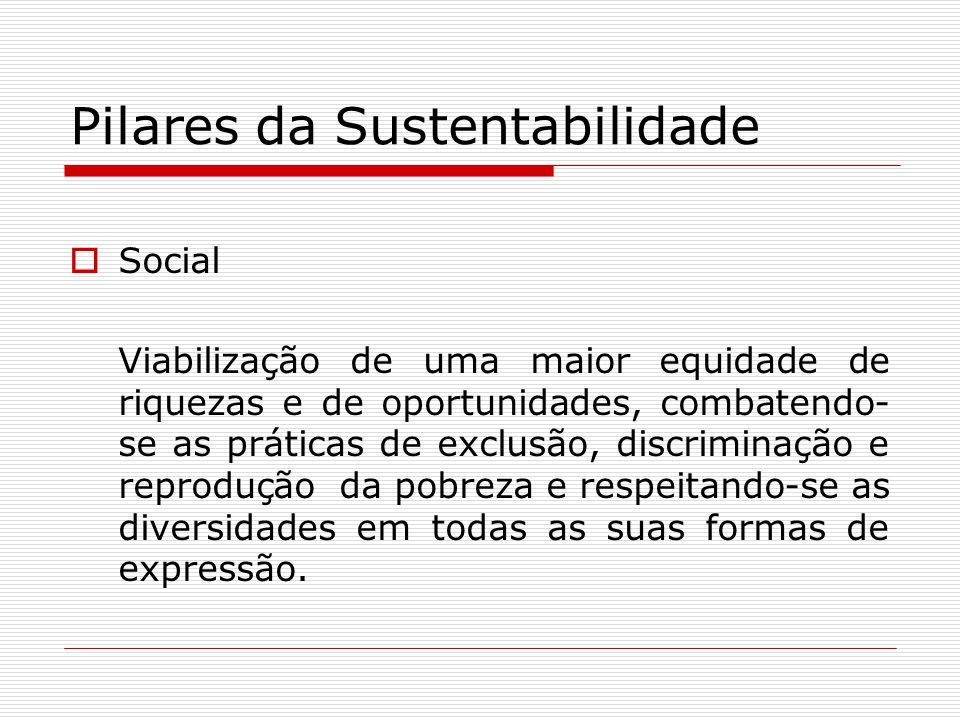Pilares da Sustentabilidade Social Viabilização de uma maior equidade de riquezas e de oportunidades, combatendo- se as práticas de exclusão, discrimi