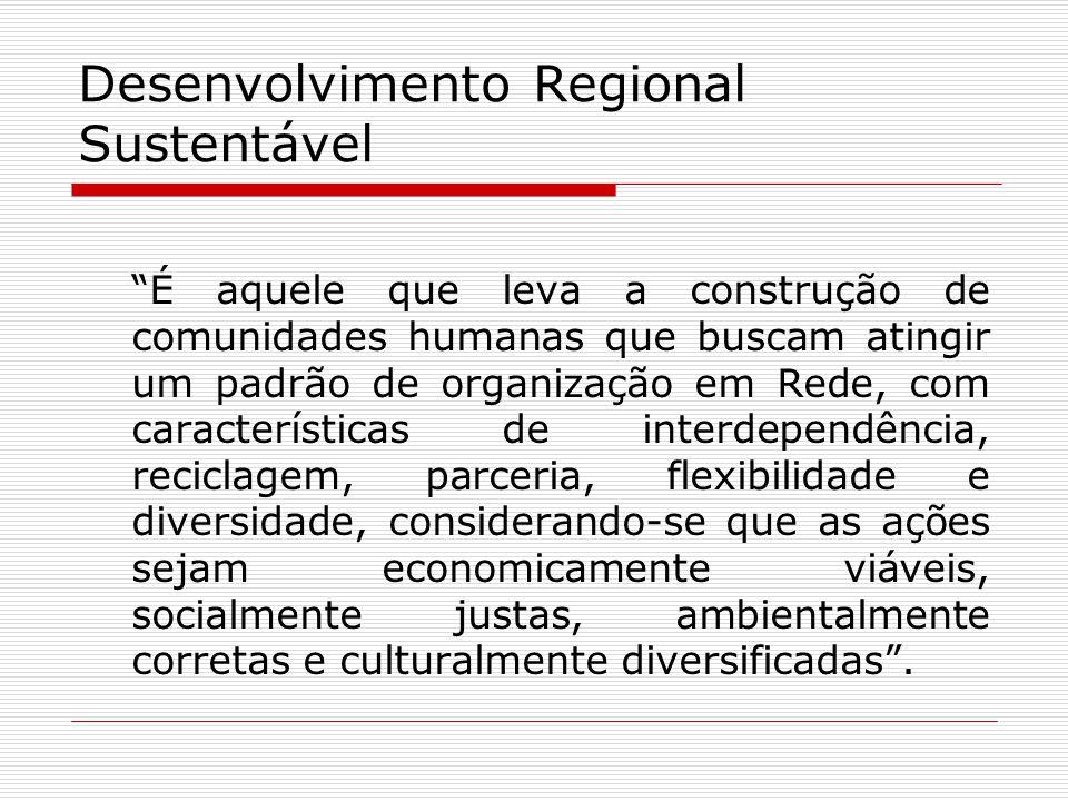 Desenvolvimento Regional Sustentável É aquele que leva a construção de comunidades humanas que buscam atingir um padrão de organização em Rede, com ca